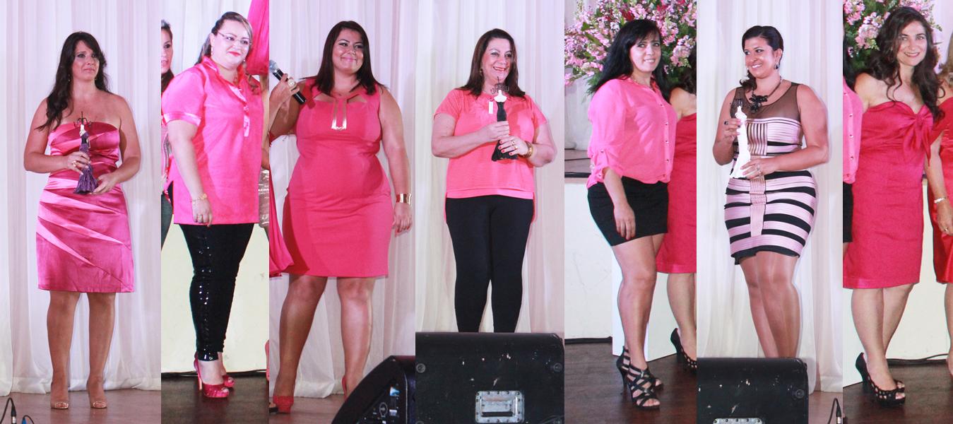 Looks rosa e pink escolhidos por algumas mulheres plus size para a Noite Pink (Foto: Amanda Pinson)